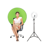 Portable Chair Green Screen Backdrop with 13inch Ring Light