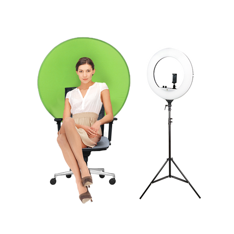 Portable Chair Green Screen Backdrop with 18inch Ring Light