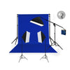 3 Head Video Softbox Quartz Hair Light Kit (3000W) with ChromakeyBackdrop & Stand