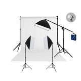 3 Head Video Softbox Quartz Hair Light Kit (3000W) with Backdrop & Stand