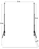3m x 6m White Photography Backdrop with 3m x 2.7m Stand