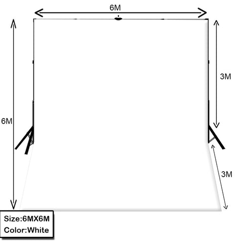 6m X 6m White Photography Backdrop With Stand