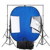 Blue & Green Reversible Photography Backdrop Screen With 50 x 70 Economy Softbox Studio Lighting Equipment