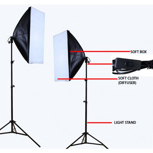 2 Head Continuous Economy Softbox Studio Daylight Equipment kit 4