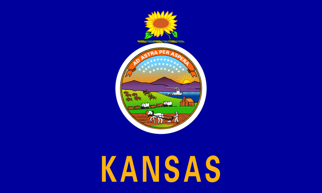Kansas State Flag in TrueKolor Wrinkle Free Fabric