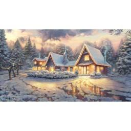 Winter House Photo Christmas Indelible Print Fabric Backdrop