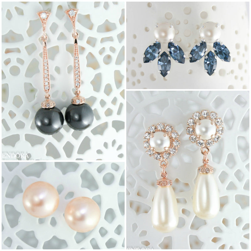 Bridal jewelry pearl earrings pearl necklaces