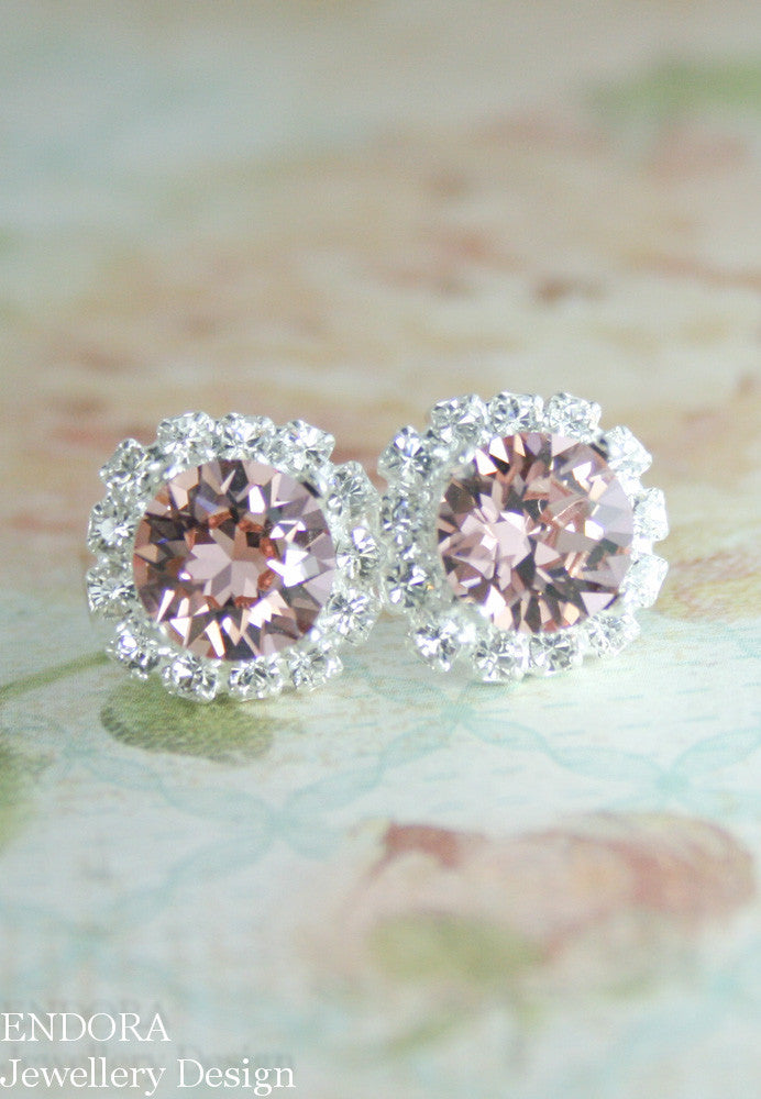 Blush crystal earrings - rose gold option