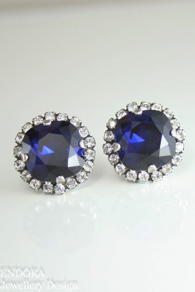 Jessica Halo earrings | Swarovski crystal | 12mm square Dark Indigo and clear crystal accent