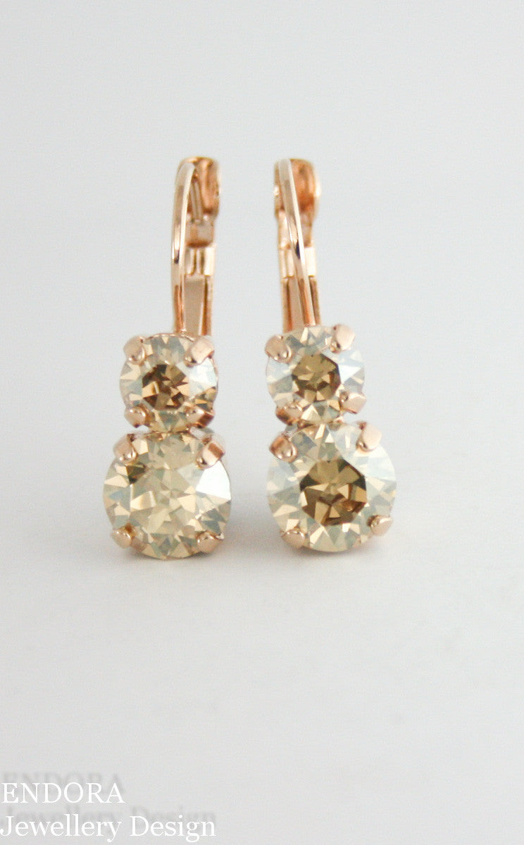 Alyssa Leverback earring | Swarovski Golden Shadow