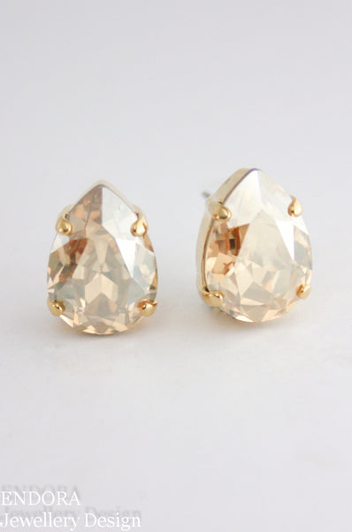 Addison earrings | Swarovski crystal teardrop | Golden Shadow 14x10mm