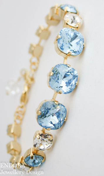 Jessica Bracelet | Swarovski 12mm cushion cut | Aquamarine and Crystal