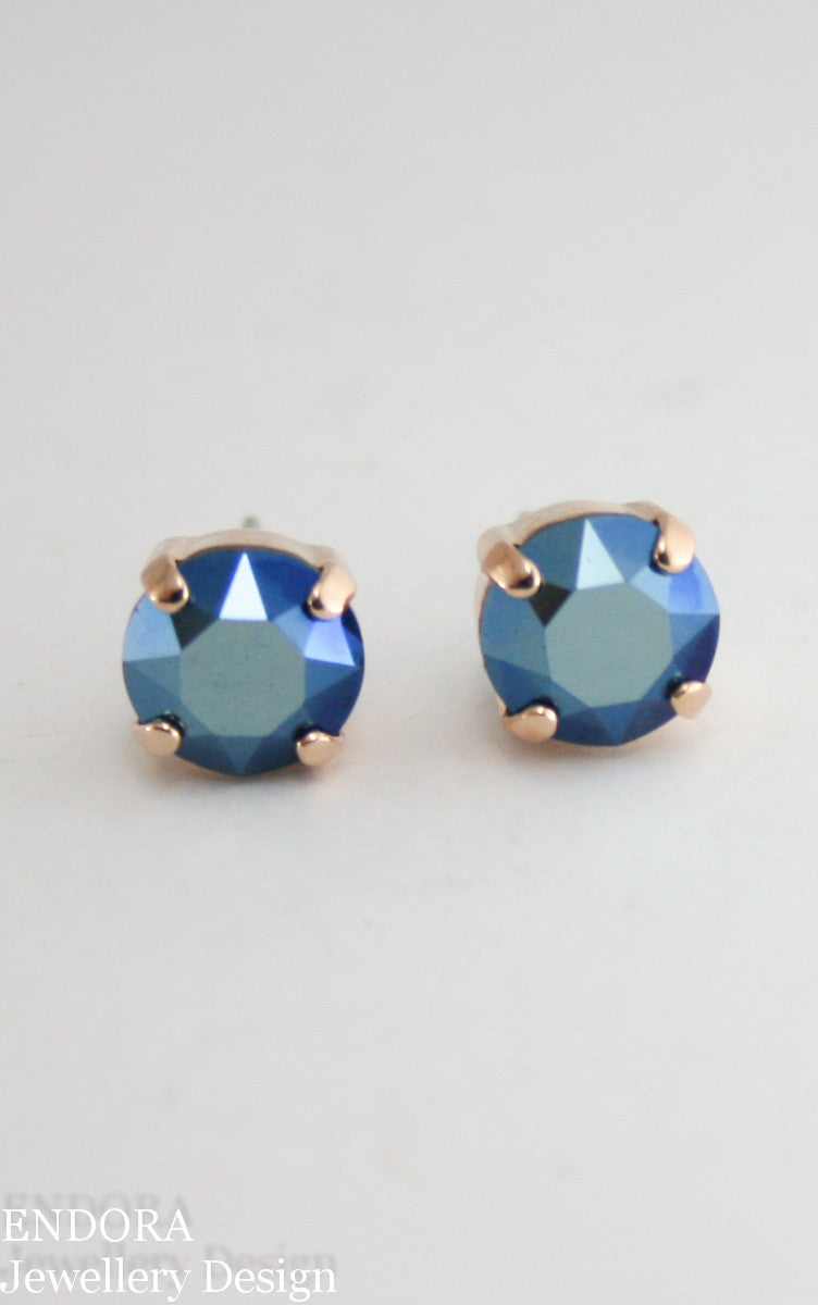 Amelia earrings | Swarovski crystal | 8mm Metallic blue