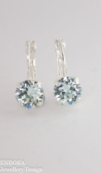 Amelia earrings | Swarovski crystal | 8mm Light azore