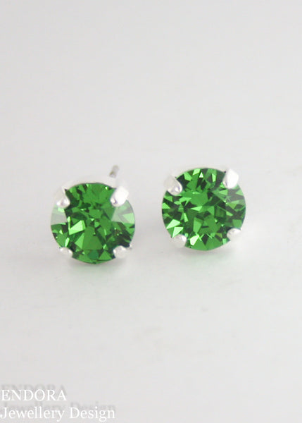 Amelia earrings | Swarovski crystal | 8mm Fern green