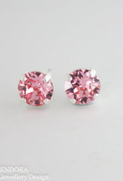 Amelia earrings | Swarovski crystal | 8mm Light rose