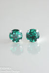 Swarovski 8mm Emerald crystal stud earrings - Emerald - Bright silver