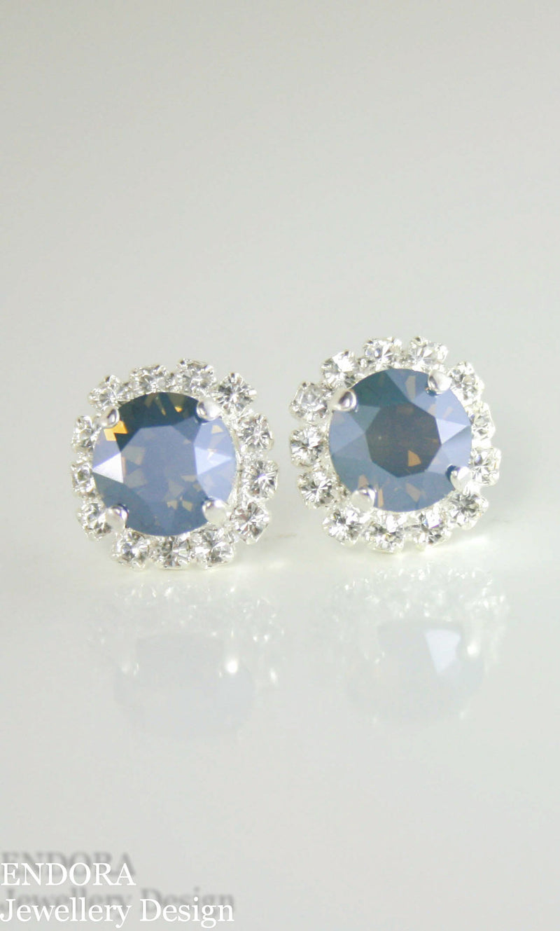 Crystal halo earrings | Steel blue - Dusty blue