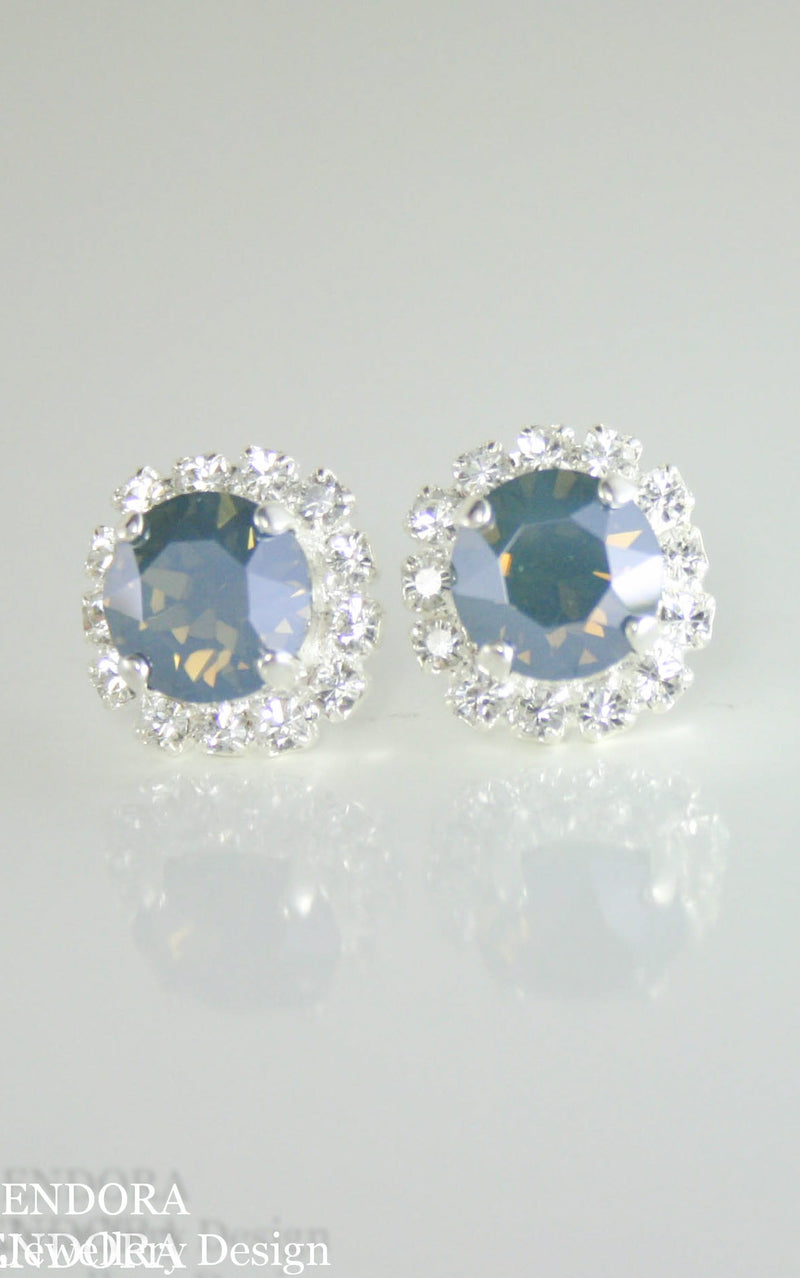 Dusty blue | Steel blue crystal earrings