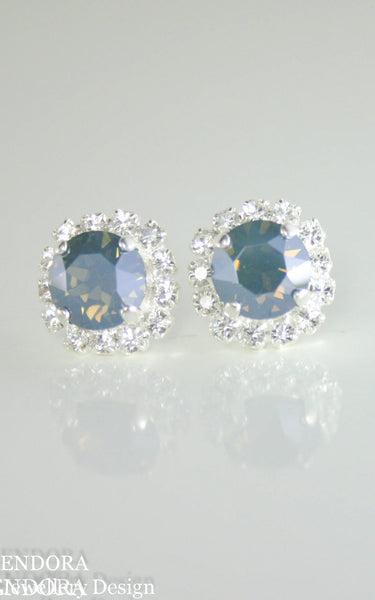 Amelia Halo Earrings | Swarovski crystal | 8mm Steel blue and clear crystal accent