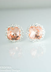 Jessica Halo Earrings | Swarovski crystal | 12mm square Light Peach and clear crystal accent