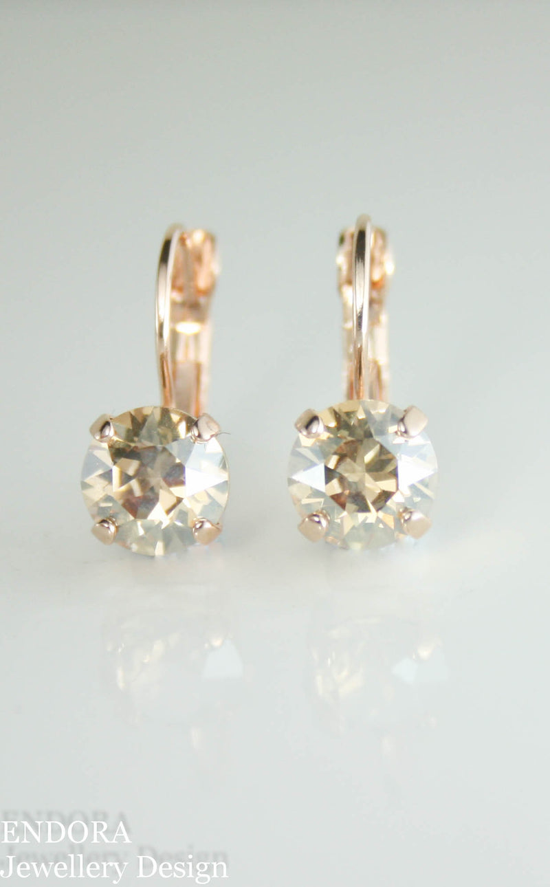 Swarovski golden shadow 8mm leverback earrings