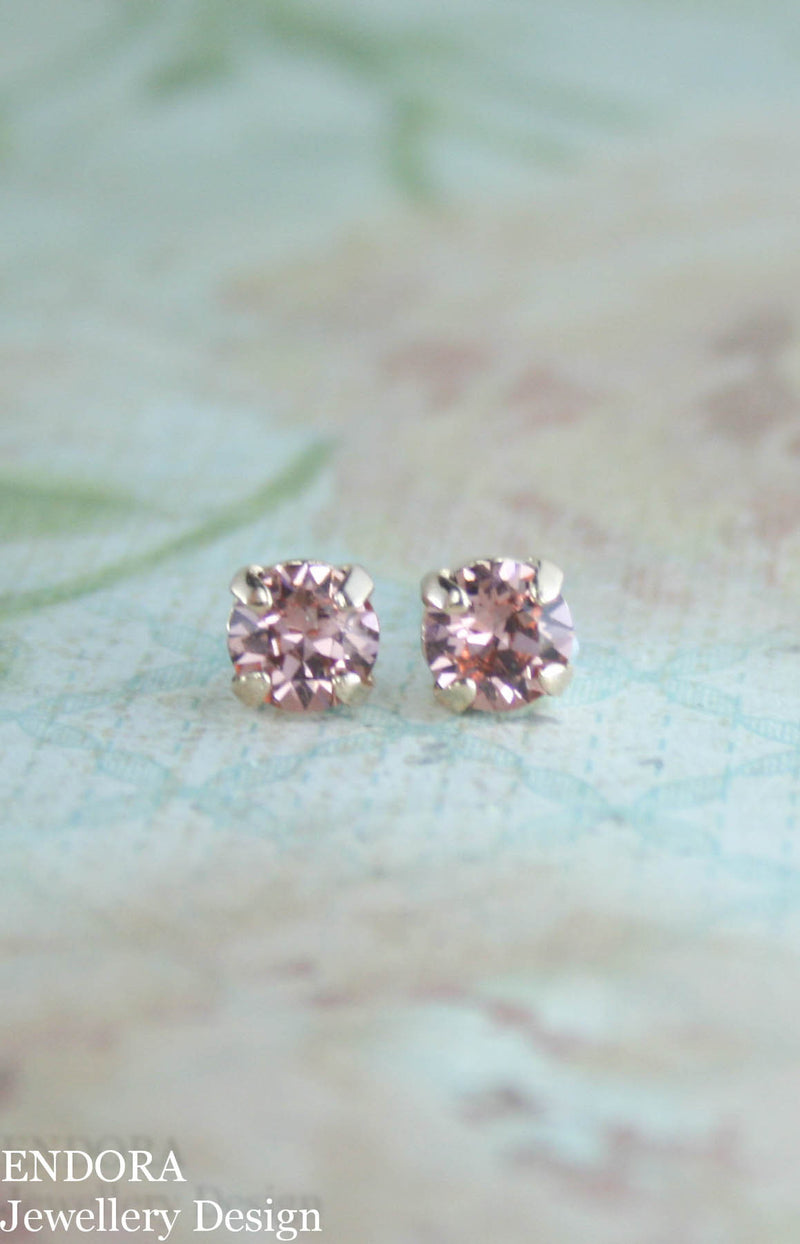 Amelia petite earrings | Swarovski crystal | 6mm Light peach