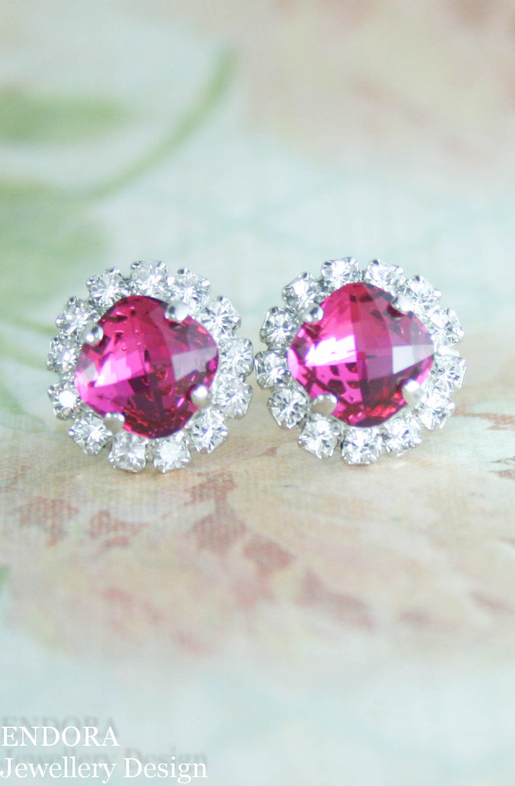 Jessica Halo earrings | Swarovski crystal | 8mm Fuchsia and clear crystal accent