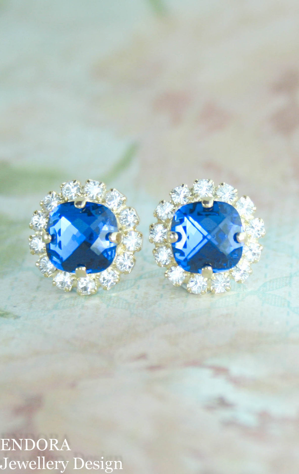 swarovski capri blue cushion cut square crystal halo stud earrings
