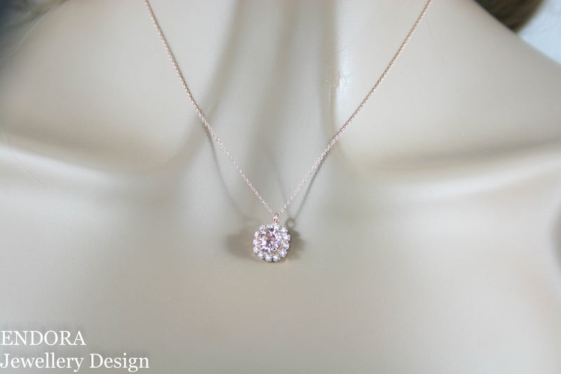 Amelia Halo Pendant Necklace | Swarovski Crystal | 8mm Khaki and clear crystal accent