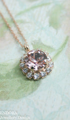 Amelia Halo Pendant necklace | Swarovski crystal | 8mm Vintage rose and clear crystal accent