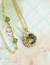 Crystal halo pendant necklace - Khaki