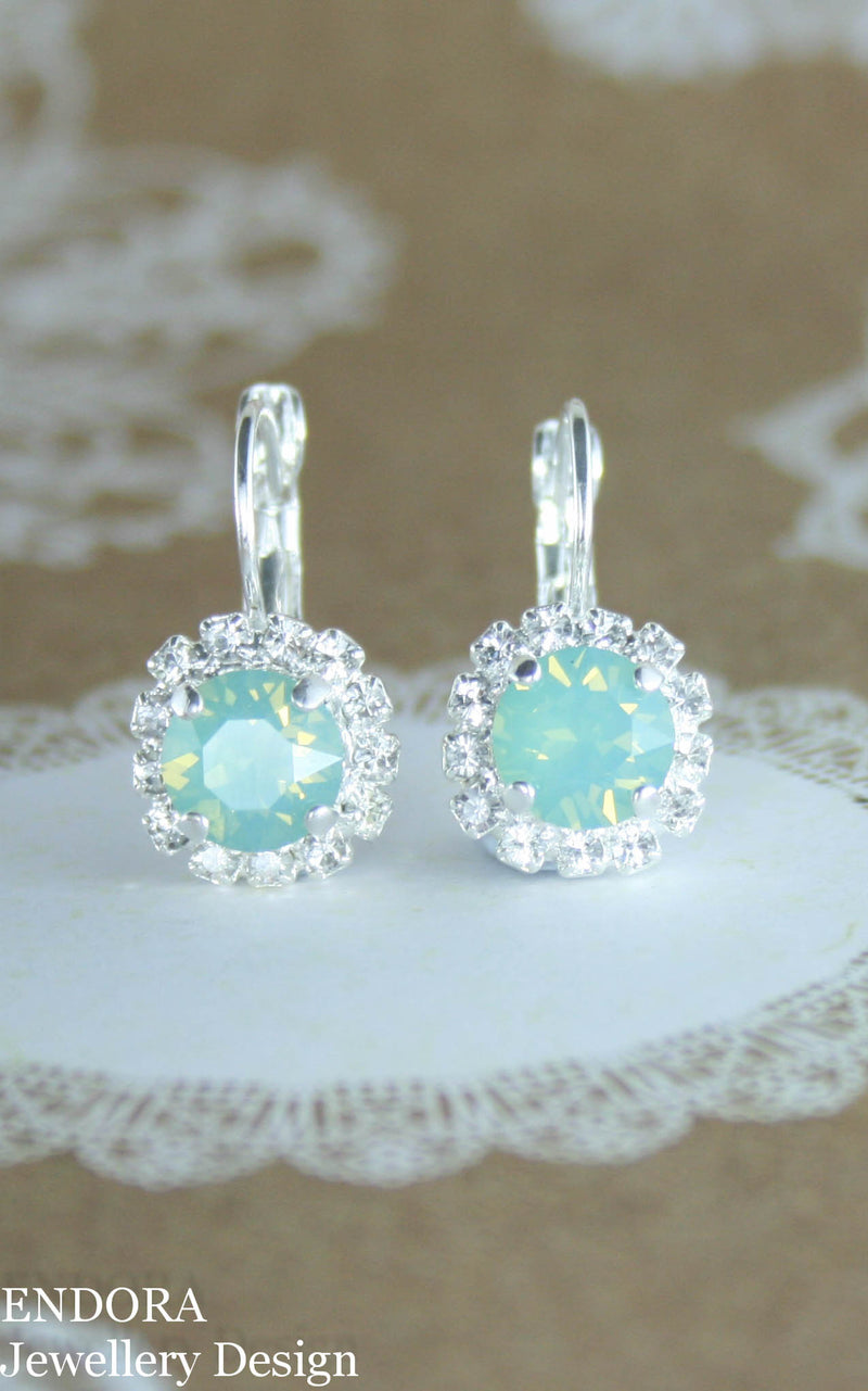 Amelia Halo Earrings | Swarovski crystal | 8mm Pacific opal and clear crystal accent