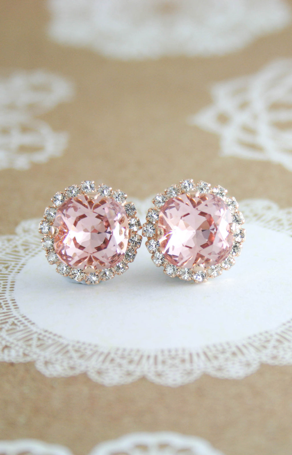 Jessica Halo earrings | Swarovski crystal | 12mm Square Vintage rose and clear crystal accent