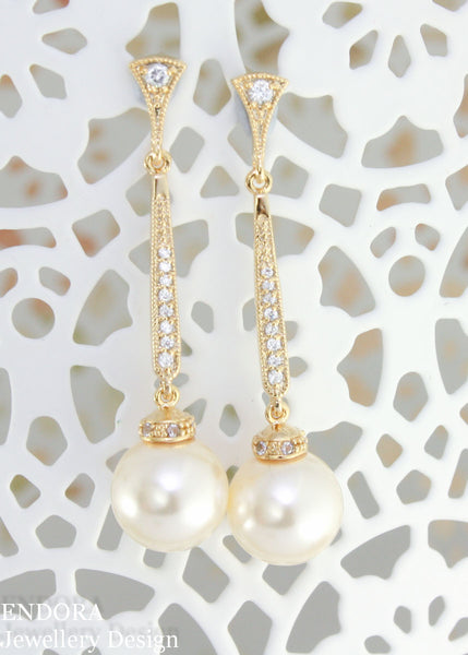 Lauren pearl earrings | Vintage style long pearl earrings | Swarovski 10mm Cream pearl