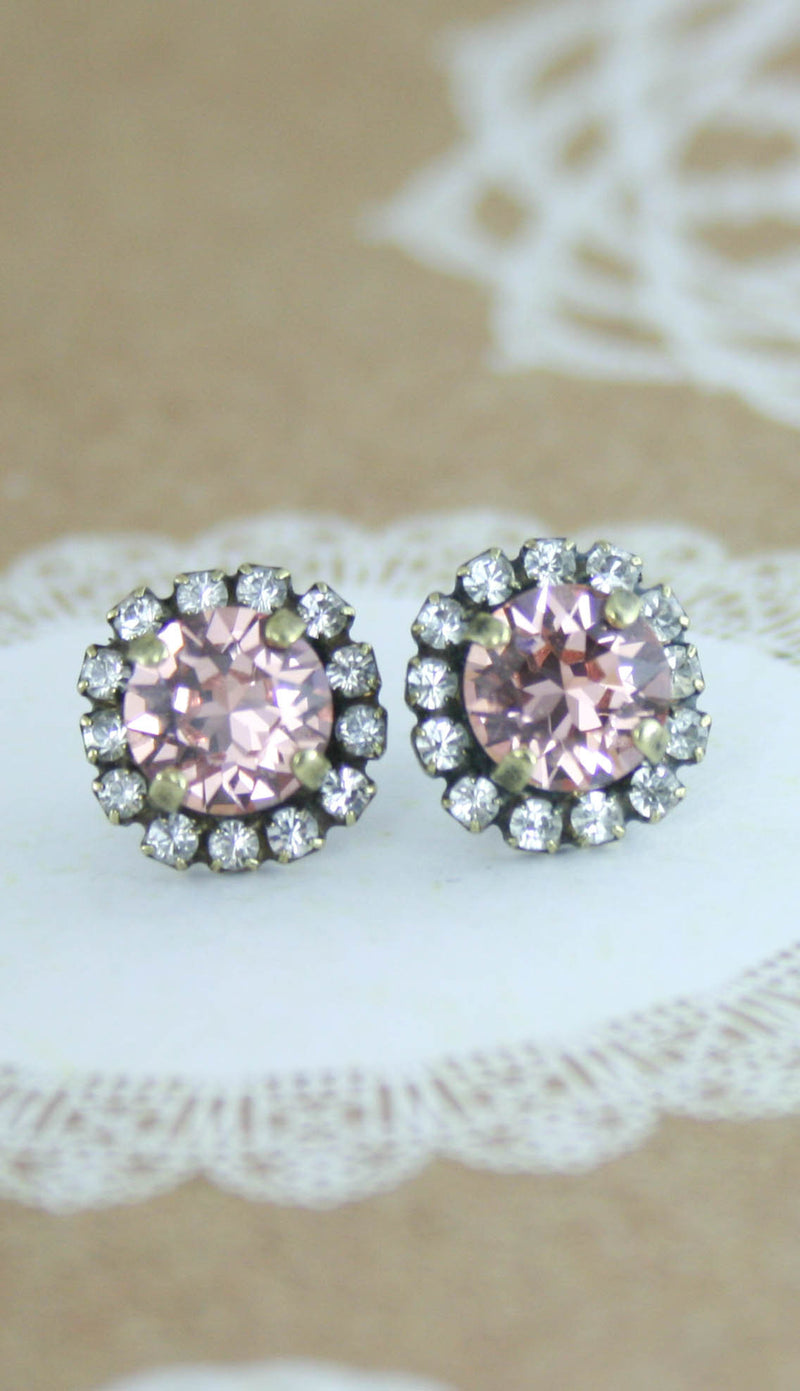 Blush crystal earrings - antique brass option