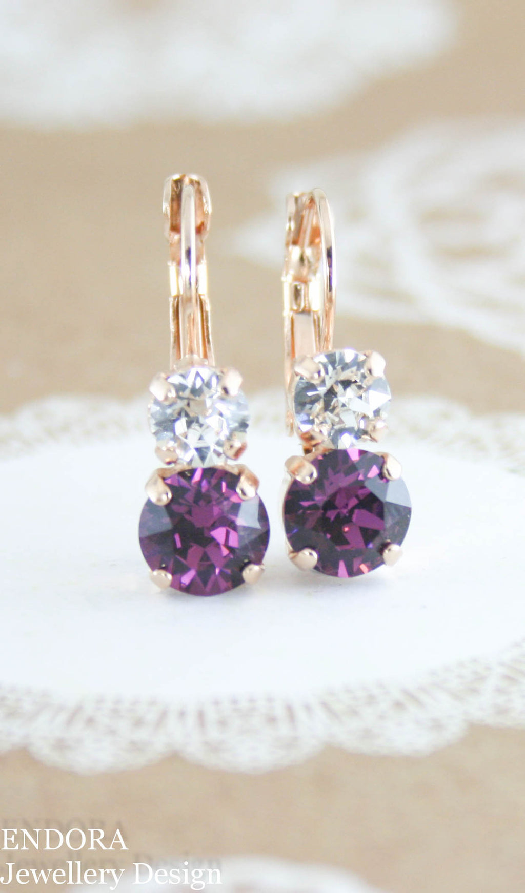 Swarovski amethyst leverback earrings