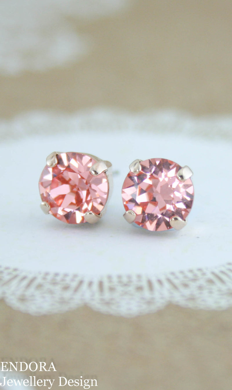 Swarovski Rose peach crystal stud earrings - 8mm