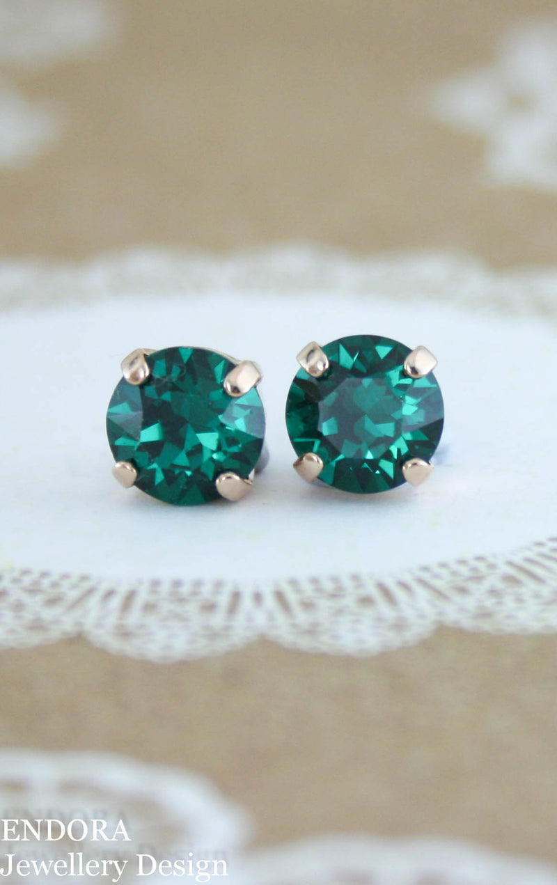 Swarovski 8mm Emerald crystal stud earrings - Emerald