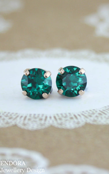 Amelia earrings | Swarovski crystal | 8mm Emerald