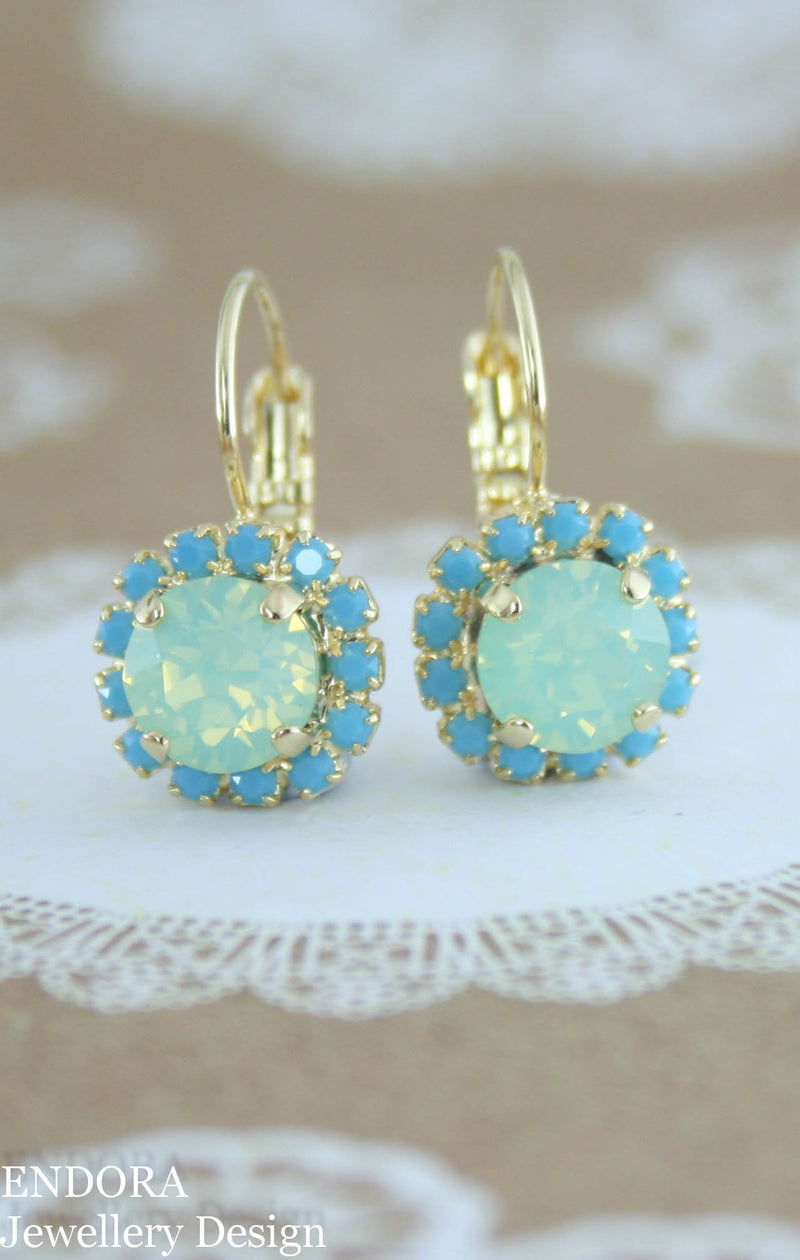 Swarovski mint and turquoise leverback earrings - yellow gold