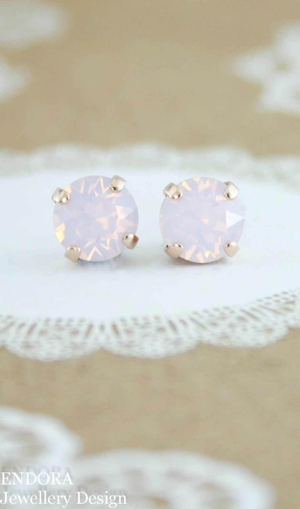 Swarovski rose water opal stud earrings - 8mm