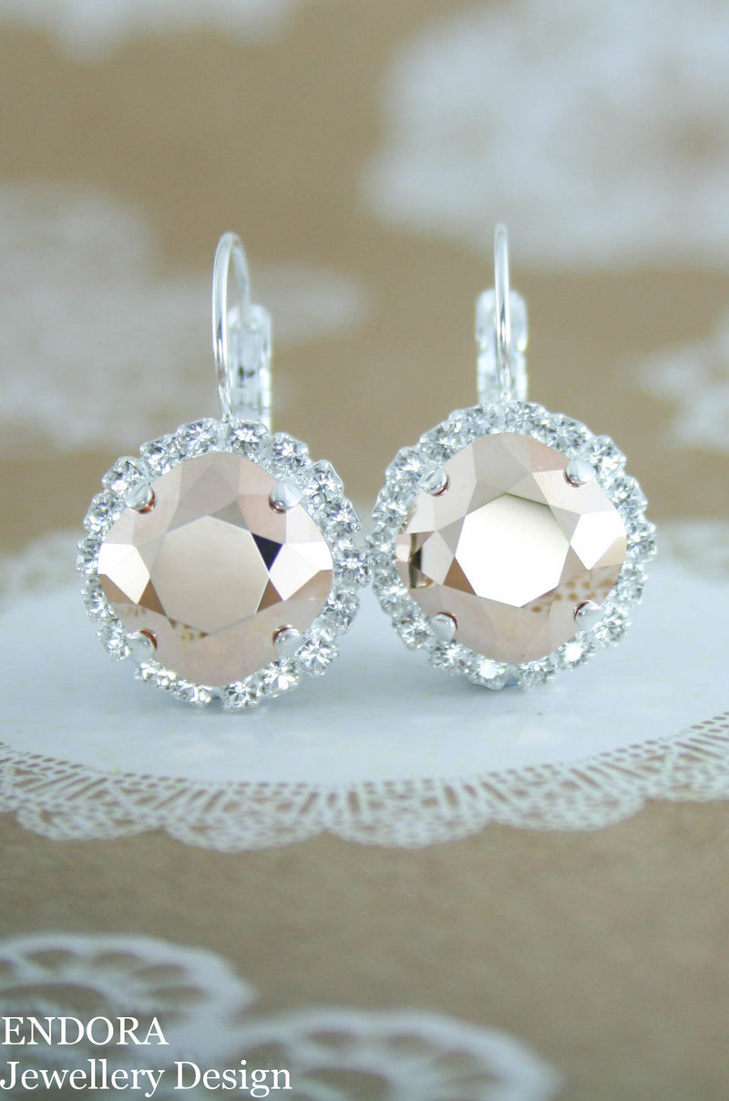 Jessica Halo earrings Diamond style leverback | Swarovski crystal square | 12mm Rose gold and clear crystal accent