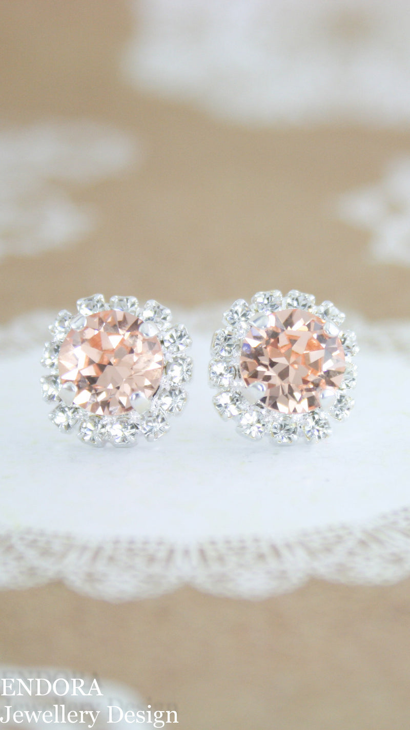 Peach bridal earrings