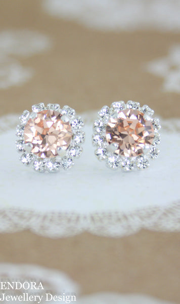 Amelia Halo Earrings | Swarovski Crystal | 8mm light peach and clear crystal accent