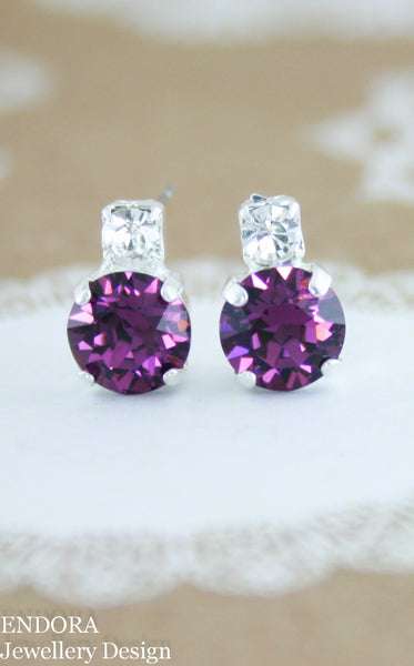 Penelope earrings | Swarovski crystal 8mm Amethyst and clear crystal top accent stone