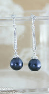 Vintage style pearl earrings | Swarovski night blue pearl earrings