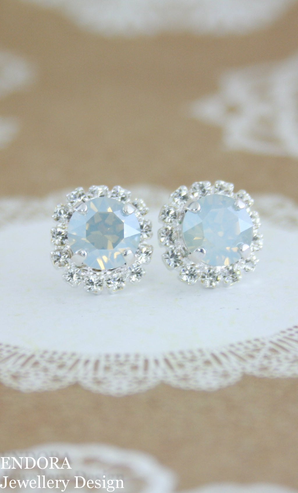 Dusty blue bridal earrings | Swarovski Dusty blue