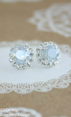 Amelia Halo Earrings | Swarovski crystal | 8mm Dusty blue and clear crystal accent