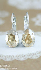 Swarovski golden shadow 14x10mm teardrop leverback earring